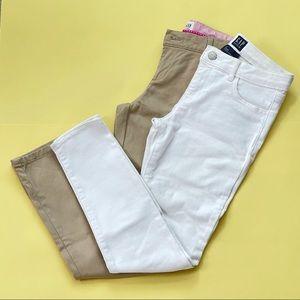 NWOT GAP Set of 2 white jeans & khaki pants sz 10